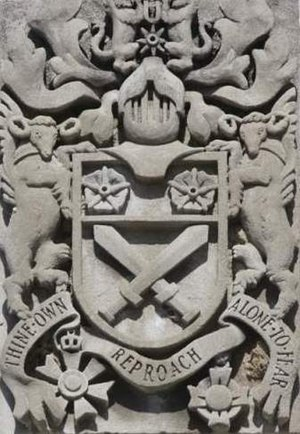 Canadian heraldry - The arms of Lt Gen Sir Archibald Cameron Macdonell (L) and Gen Sir Arthur William Currie (R), Currie Building, Royal Military College of Canada