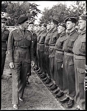 II Canadian Corps - Lieutenant-General Guy Simonds inspecting II Canadian Corps troops in Meppen, Germany, May 31st, 1945.