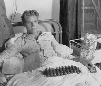 George Beurling - Beurling in hospital after his transport aircraft crashed.