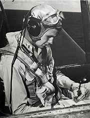 George H.W. Bush seated in a Grumman TBM Avenger, circa 1944 (H069-13)