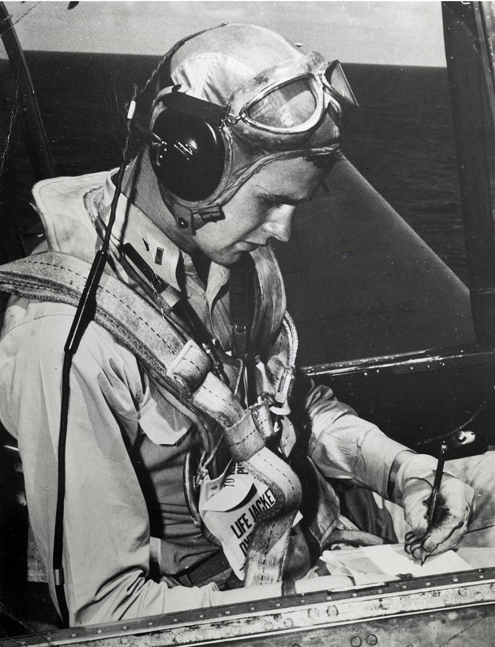 George H.W. Bush seated in a Grumman TBM Avenger, circa 1944 (H069-13).jpg