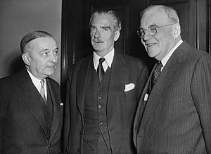 Big Four Conference - Georges Bidault (France), Anthony Eden (UK) and John Foster Dulles (US)