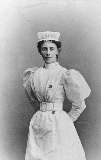 Portrait of Miss Georgina Pope, head nurse of ...
