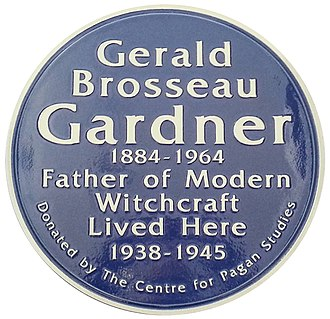 Gerald Gardner (Wiccan) - A plaque erected to mark the house at Highcliffe where Gardner lived during the Second World War.