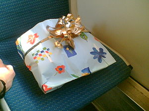 a present with a ribbon on top