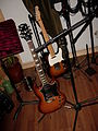 Gibson SG Standard natural sunburst & Fender Telecaster, Recording Fischer, Compound Recordings, January 2008.jpg