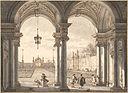 Вид через барочную колоннаду в сад