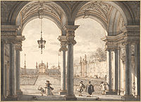 Giovanni Antonio Canal, il Canaletto - View through a Baroque Colonnade into a Garden, 1760-1768 - Google Art Project.jpg
