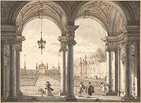 Giovanni Antonio Canal, il Canaletto - View through a Baroque Colonnade into a Garden, 1760-1768 - Google Art Project.jpg