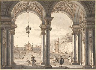 View through a Baroque Colonnade into a Garden