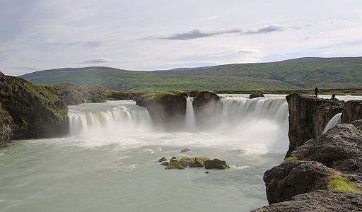 Goðafoss is a northern Icelandic waterfall with a height of 12m and a width of 30m. I took this exposure of 1s using a 64x ND filter. The two persons on the right side serve as scale.