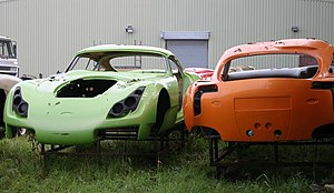 TVR - Unused TVR body shells, sitting outside the closed Blackpool factory