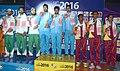 Gold Medallists of India Omkar Singh, Gurpeet Singh, Jitendra Vibhute and Silver Medallists of Pakistan Kalimullah Khan, Kaleem Ullah, Muhammad Shehzad Akhtar and Bronze Medallists of Sri Lanka S. Fernando, M.P. Pathirana.jpg
