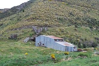 Otago Gold Rush - Old mill at Golden Point Mine Historic Area, near Macraes Flat.