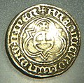 Golden apple guilder, Hamburg, 1438 or 1439, back side with Imperial Orb of the Holy Roman Empire.jpg