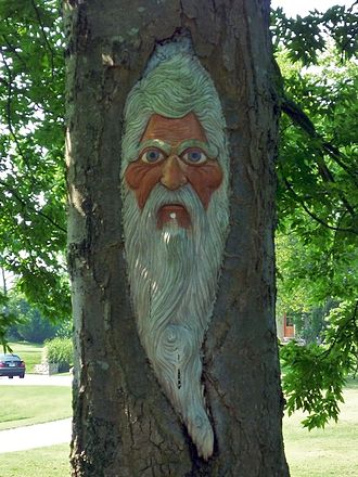 William Lee Golden - Golden's likeness is carved into the side of an oak tree on the edge of the property, which is visible from the road