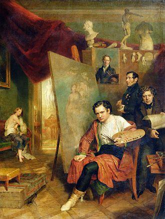 Wilhelm August Golicke - Golicke in his studio (1832)
