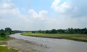 The Gomti and its floodplain, winding through an undeveloped area