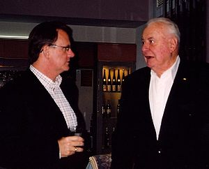 Latham with his then mentor, former Prime Minister Gough Whitlam (right), at an election fundraising event in Melbourne, September 2004