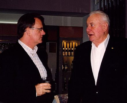 Gough Whitlam (right) at 88, with the then-leader of the Australian Labor Party, Mark Latham, at an election fundraising event in Melbourne, September 2004 Goughandmark.jpg