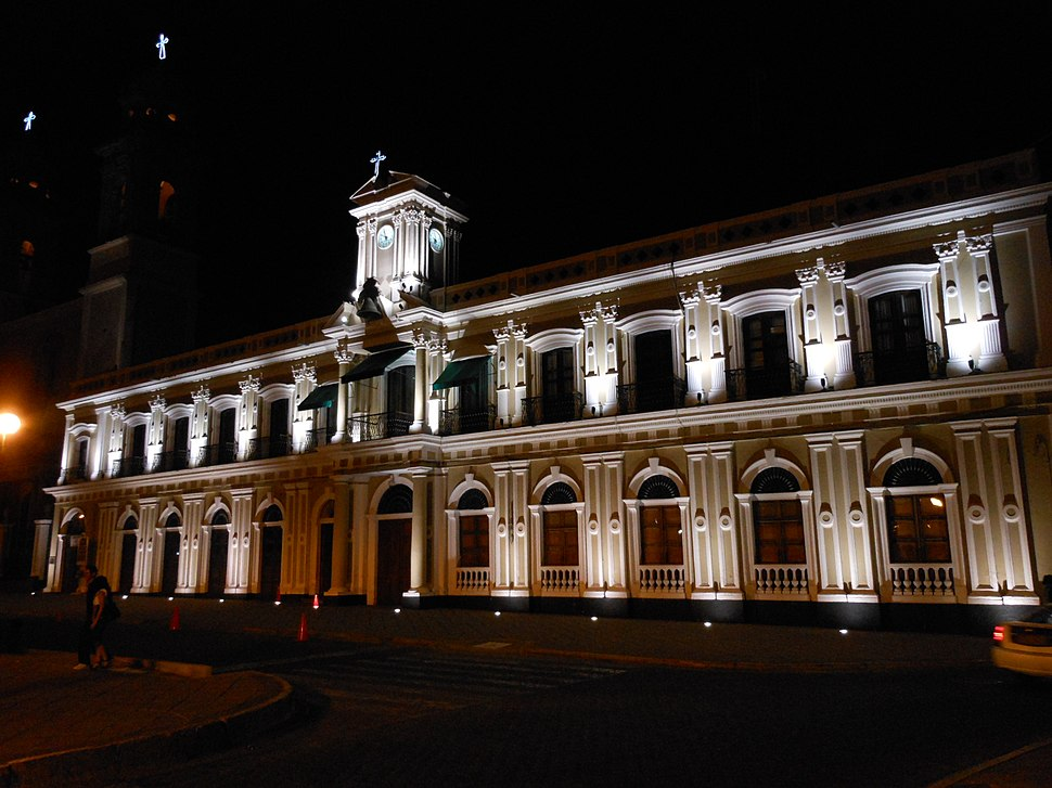 Government Palace of Colima at night