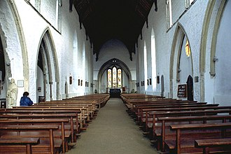 Graiguenamanagh - View of the 13th-century nave in the early English style which was restored in 1974.