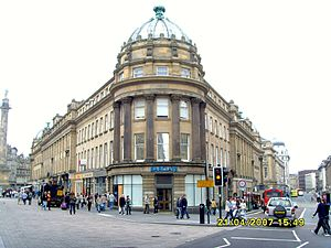 Grainger Town - Central Arcade on Grainger Street with Monument on left and Market Street on right.