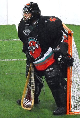 Box Lacrosse League - Minto Cup winning veteran goalie Dave Holding. Grand Rapids Dragonfish goaltender since team's inception.