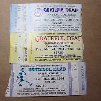 Mail-ordered Grateful Dead concert tickets for their spring 1994 Nassau Coliseum run of shows Grateful Dead tickets for Nassau Coliseum run, Spring 1994.jpg