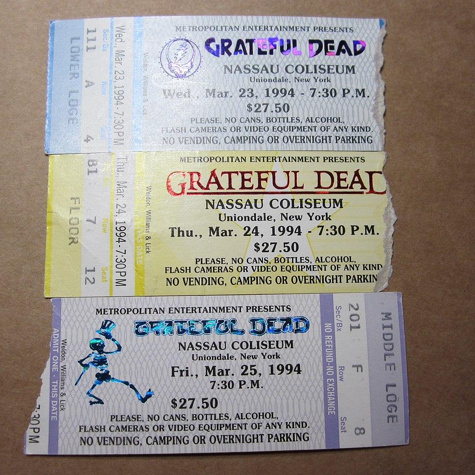 Grateful Dead tickets for Nassau Coliseum run, Spring 1994