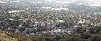 photo of Malvern seen from the hills