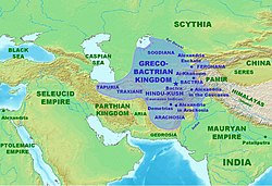 Approximate maximum extent of the Greco-Bactrian kingdom circa 180 BC, including the regions of Tapuria and Traxiane to the West, Sogdiana and Ferghana to the north, Bactria and Arachosia to the south.