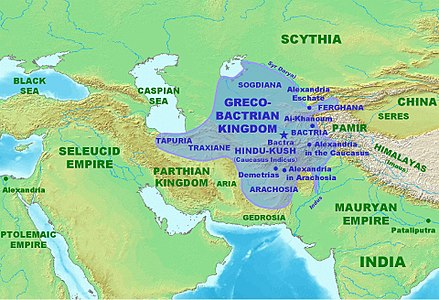 The Greco-Bactrian kingdom at its maximum extent (c. 180 BC). Greco-BactrianKingdomMap.jpg