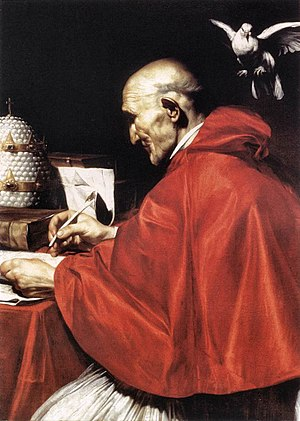 Pope - Gregory the Great (c 540–604) who established medieval themes in the Church, in a painting by Carlo Saraceni, c. 1610, Rome.