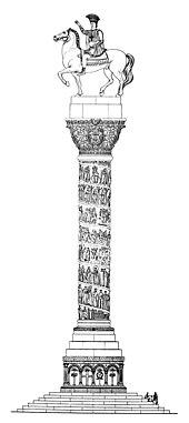 Dessin d'un monument en forme de colonne, à son sommet la statue d'un homme à cheval