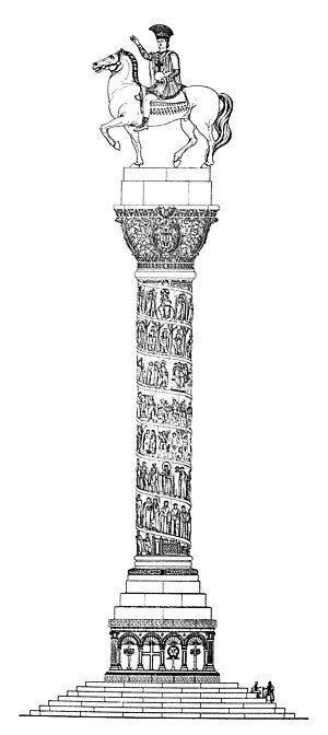 Column of Justinian - Reconstruction of the column, after Cornelius Gurlitt, 1912. The depiction of a helical narrative frieze around the column, after the fashion of Trajan's Column, is erroneous.