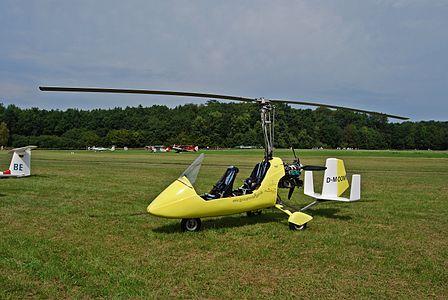 Gyrocopter D-MOOM at Löchgau, Baden-Württemberg.