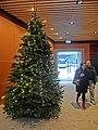 HK CWB 中華基督教會公理堂 China Congregational Church ground floor lift lobby Christmas tree n visitors Dec-2013.JPG
