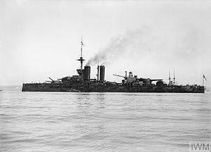 HMS Ajax (1912) - Ajax at anchor, about 1913