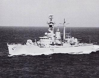 Armilla patrol - Image: HMS Scylla (F71) underway in the Persian Gulf c 1988