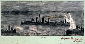 HMS Surly during manoeuvres, D Squadron, Preliminary Cruise 25 July 1901 RMG PU0300.jpg