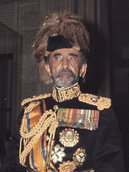 Haile Selassie during state visit of Queen Juliana to Ethiopia, January 1969.