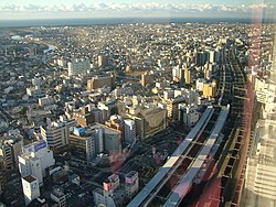 A bird's-eye view of downtown Hamamatsu.