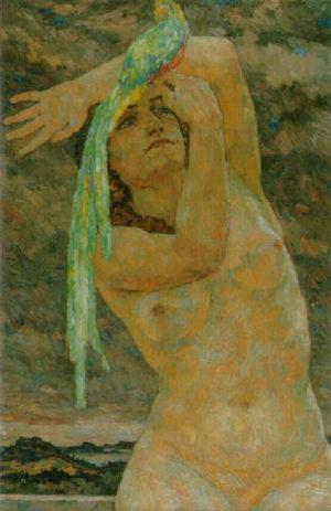 Hans Unger - Image: Hans Unger Weiblicher Akt mit Papagei
