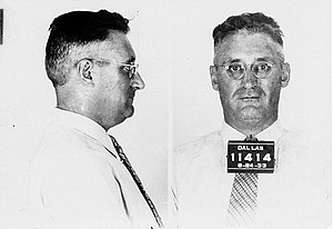 Harvey Bailey - Harvey Bailey's mugshot, Dallas 1933