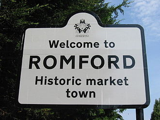 Romford Market - Welcome sign on the edge of Romford