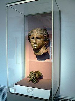 Head and left hand from a bronze cult statue of Anahita, a local goddess shown here in the guide of Aphrodite, 200-100 BC, British Museum (8167358544).jpg