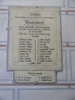 Denkmal für die Gefallenen der Napoleonischen Kriege in Heimenkirch, Kreis Lindau (Bodensee), Bayern