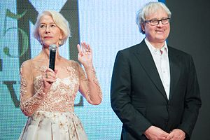 Simon Curtis (filmmaker) - Helen Mirren (left) and Simon Curtis at Opening Ceremony of the 28th Tokyo International Film Festival (2015)