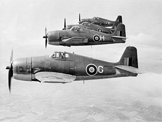 Grumman F6F Hellcat - A section of Fleet Air Arm Hellcat F Mk.Is of 1840 Squadron in June 1944